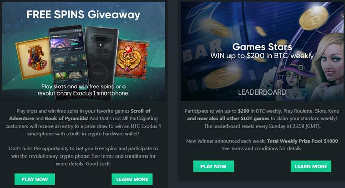 Bitcoin.com Games bonuses