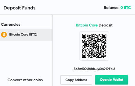 Bitcoin.com Games deposit
