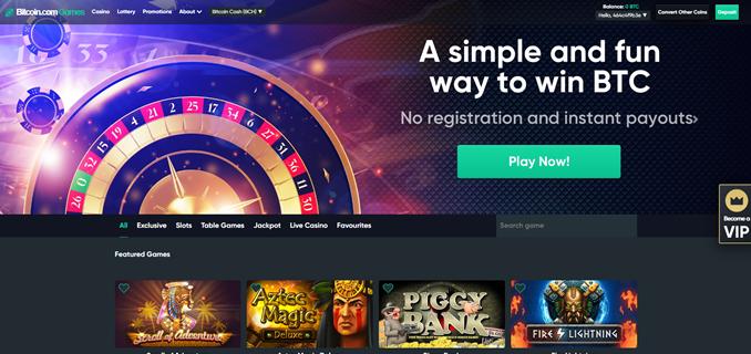 Bitcoin.com Games landing page